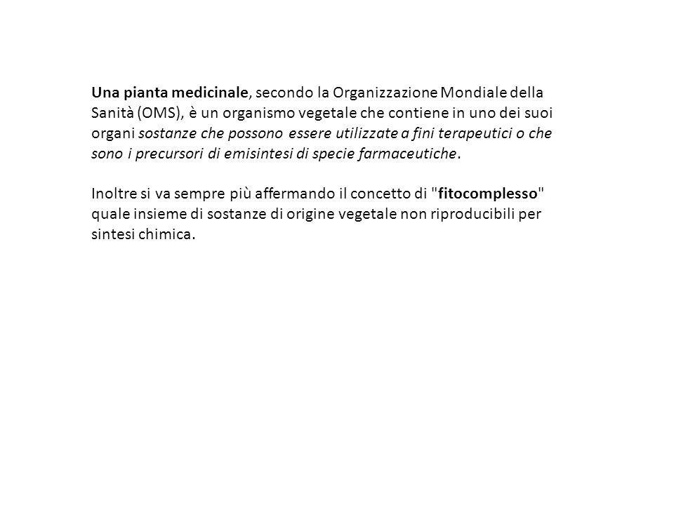 Una pianta medicinale, secondo la Organizzazione Mondiale della Sanità (OMS), è un organismo vegetale che contiene in uno dei suoi organi sostanze che