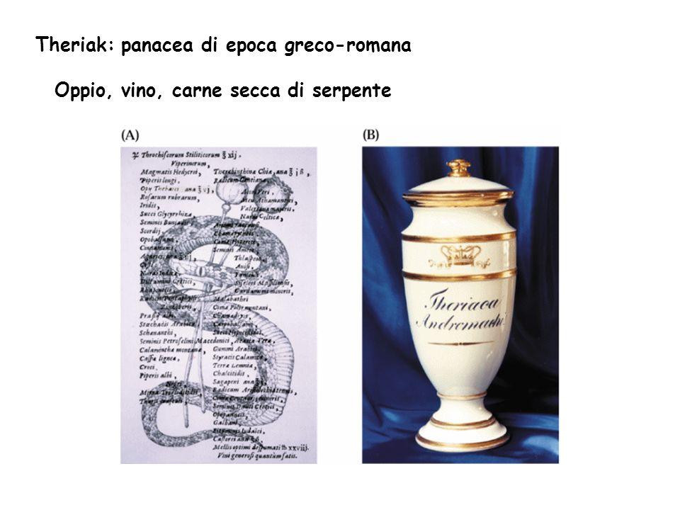 Theriak: panacea di epoca greco-romana Oppio, vino, carne secca di serpente
