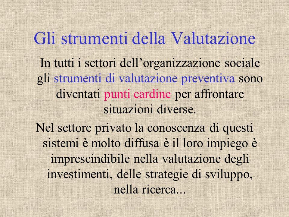 Gli strumenti della Valutazione In tutti i settori dellorganizzazione sociale gli strumenti di valutazione preventiva sono diventati punti cardine per affrontare situazioni diverse.