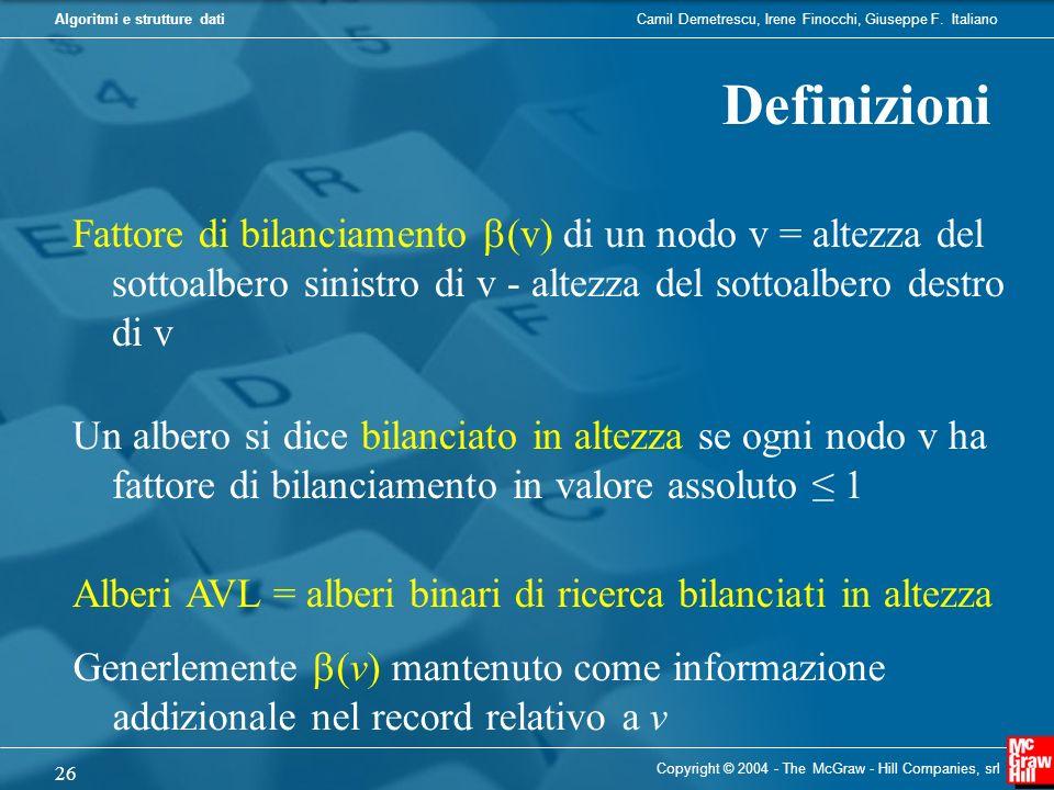 Camil Demetrescu, Irene Finocchi, Giuseppe F. ItalianoAlgoritmi e strutture dati Copyright © 2004 - The McGraw - Hill Companies, srl 26 Definizioni Al