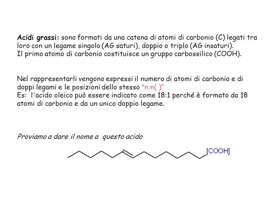 Glicerolo: è un alcool con tre gruppi ossidrilici (OH), leggermente viscoso, con un odore dolce a temperatura ambiente, completamente solubile in acqua e alcool, debolmente solubile nell etere dietilico e completamente insolubile negli idrocarburi.