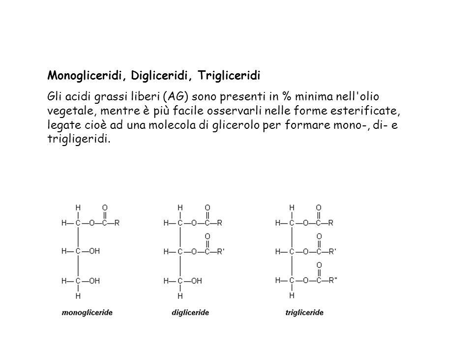 Fosfatidi Nelle molecole di fosfatidi solo due gruppi ossidrilici del glicerolo sono esterificati con acidi grassi, mentre il terzo gruppo è esterificato con una molecola di acido fosforico.