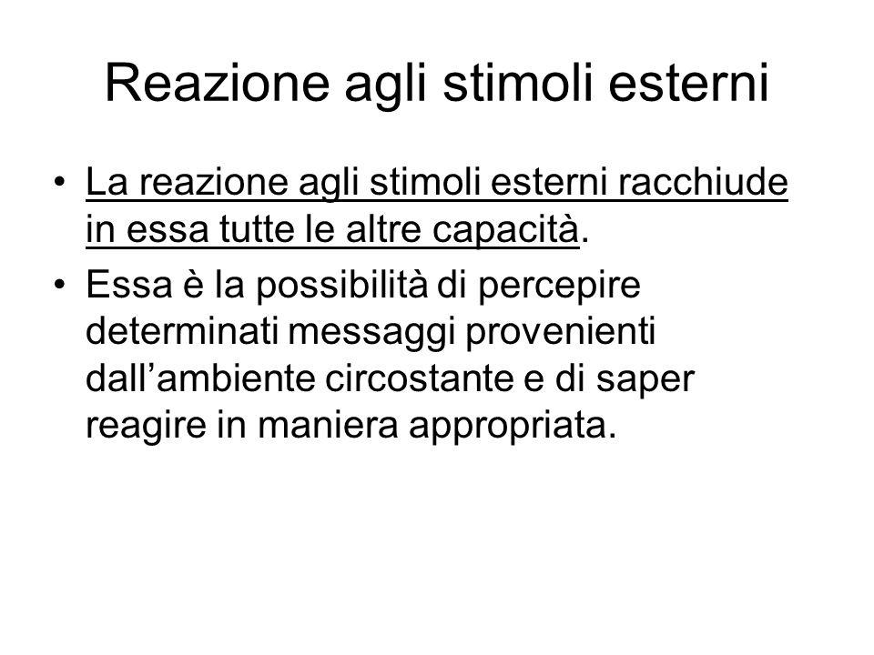 Reazione agli stimoli esterni La reazione agli stimoli esterni racchiude in essa tutte le altre capacità. Essa è la possibilità di percepire determina