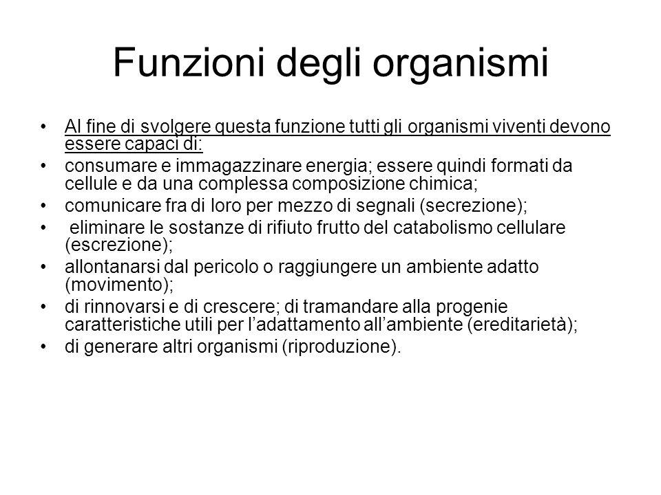 Funzioni degli organismi Al fine di svolgere questa funzione tutti gli organismi viventi devono essere capaci di: consumare e immagazzinare energia; e