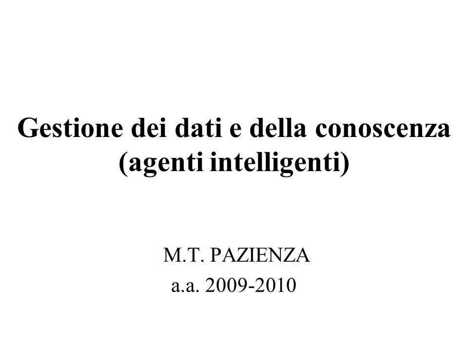 Gestione dei dati e della conoscenza (agenti intelligenti) M.T. PAZIENZA a.a. 2009-2010