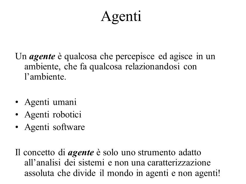 Agenti Un agente è qualcosa che percepisce ed agisce in un ambiente, che fa qualcosa relazionandosi con lambiente.