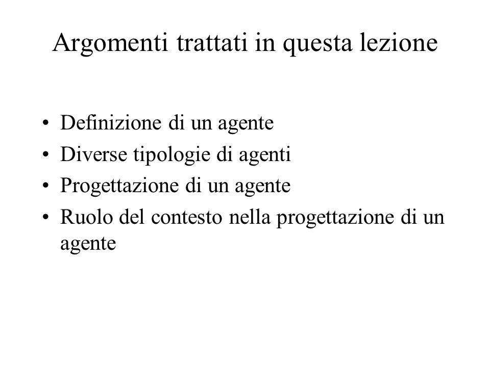 Argomenti trattati in questa lezione Definizione di un agente Diverse tipologie di agenti Progettazione di un agente Ruolo del contesto nella progettazione di un agente