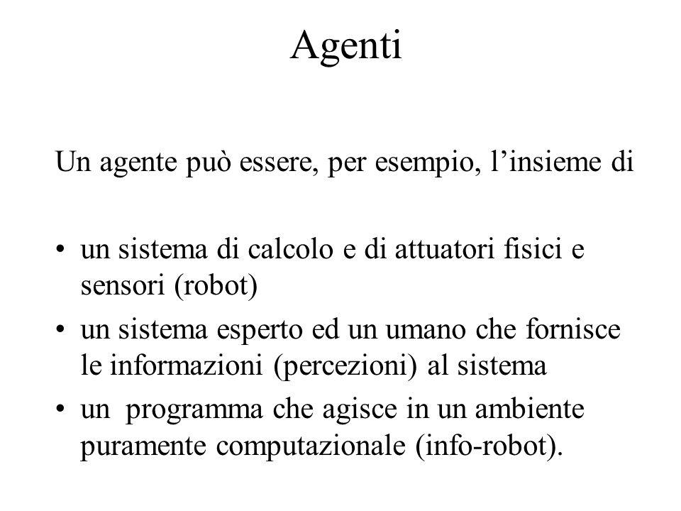 Agenti Un agente può essere, per esempio, linsieme di un sistema di calcolo e di attuatori fisici e sensori (robot) un sistema esperto ed un umano che fornisce le informazioni (percezioni) al sistema un programma che agisce in un ambiente puramente computazionale (info-robot).