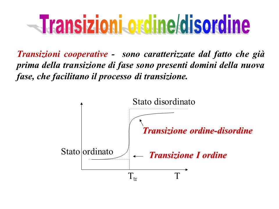 Transizioni cooperative - sono caratterizzate dal fatto che già prima della transizione di fase sono presenti domini della nuova fase, che facilitano