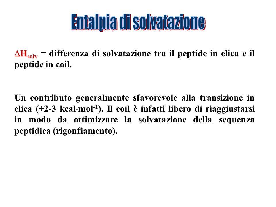 H solv H solv = differenza di solvatazione tra il peptide in elica e il peptide in coil. Un contributo generalmente sfavorevole alla transizione in el