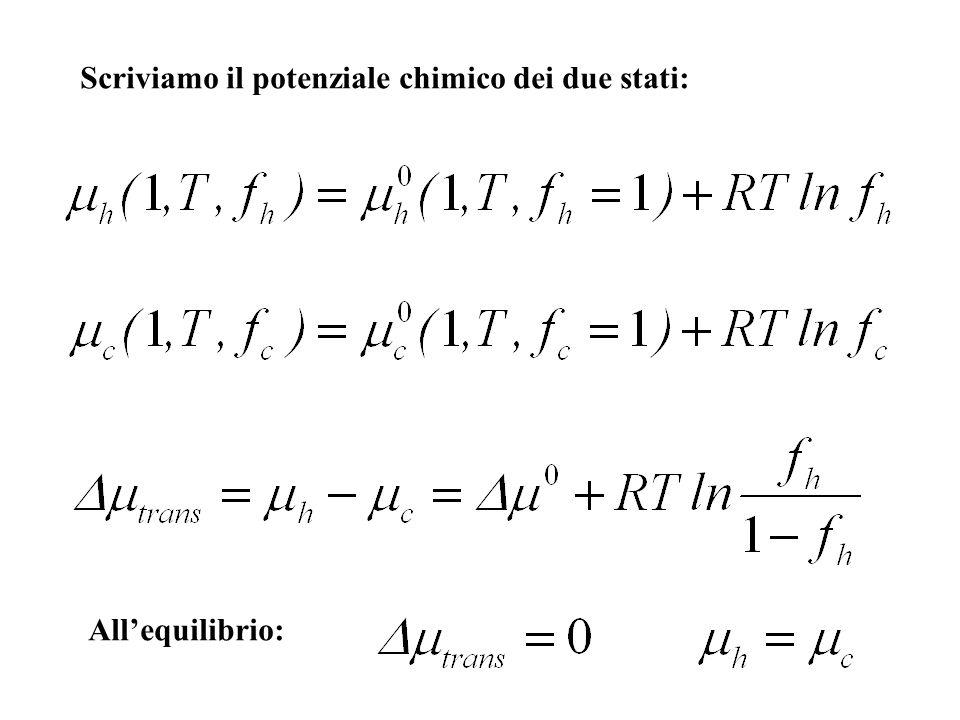 Scriviamo il potenziale chimico dei due stati: Allequilibrio: