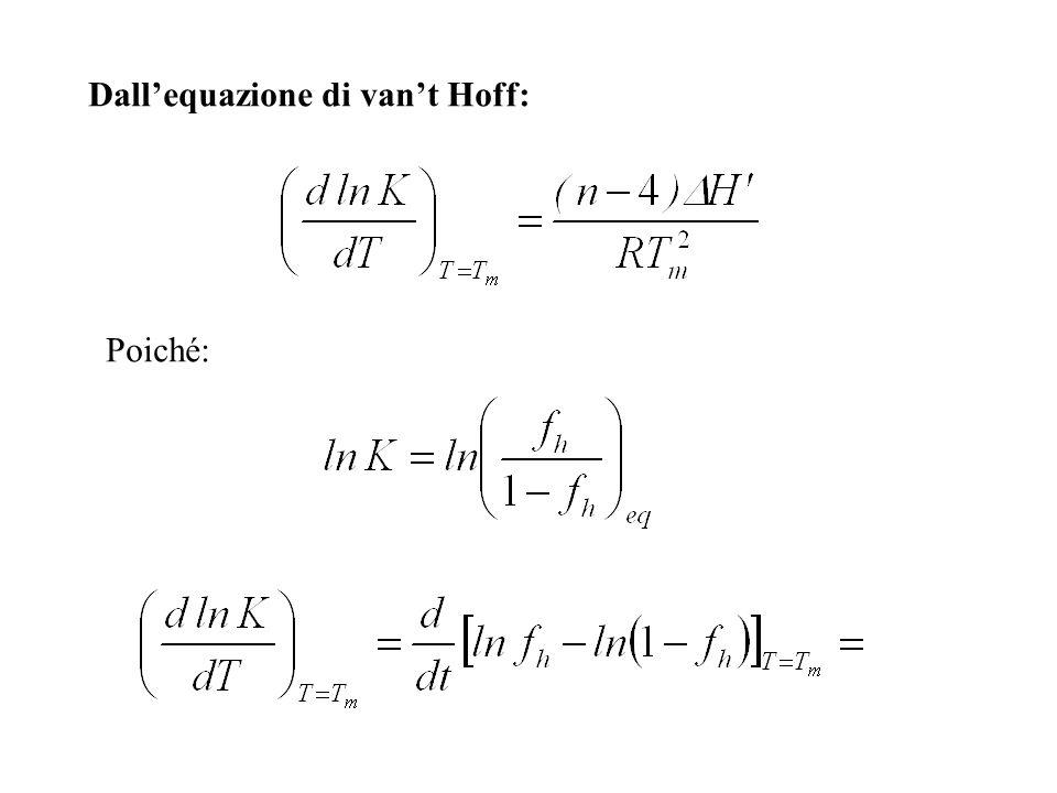Dallequazione di vant Hoff: Poiché: