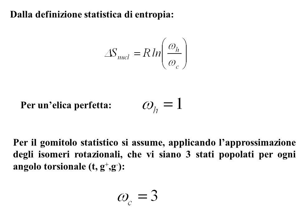 Per unelica perfetta: Per il gomitolo statistico si assume, applicando lapprossimazione degli isomeri rotazionali, che vi siano 3 stati popolati per o