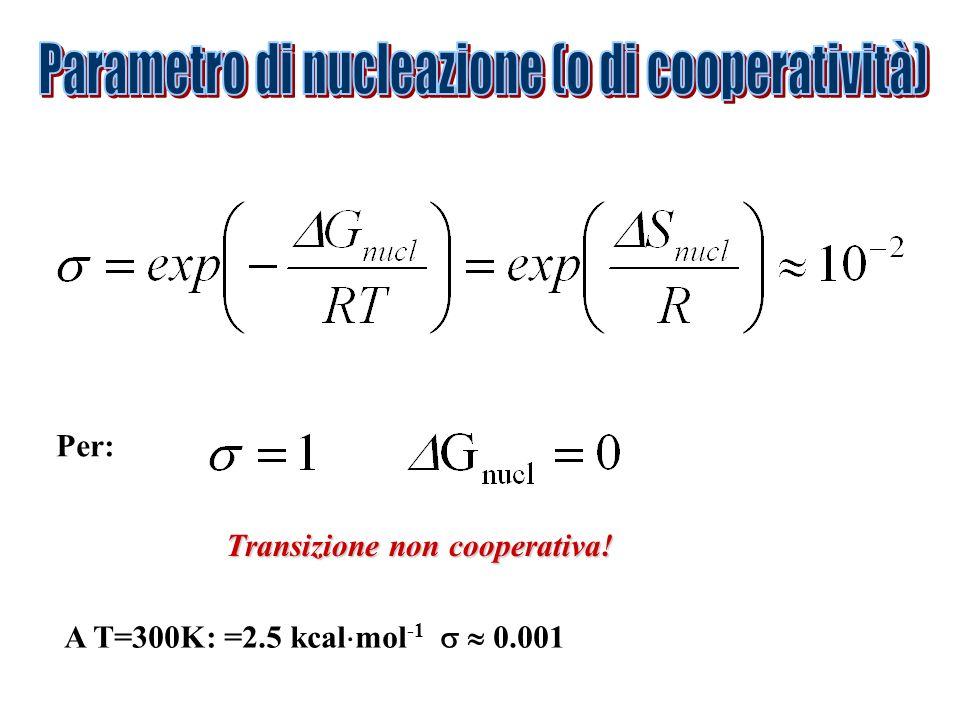 Transizione non cooperativa! Per: A T=300K: =2.5 kcal mol -1 0.001