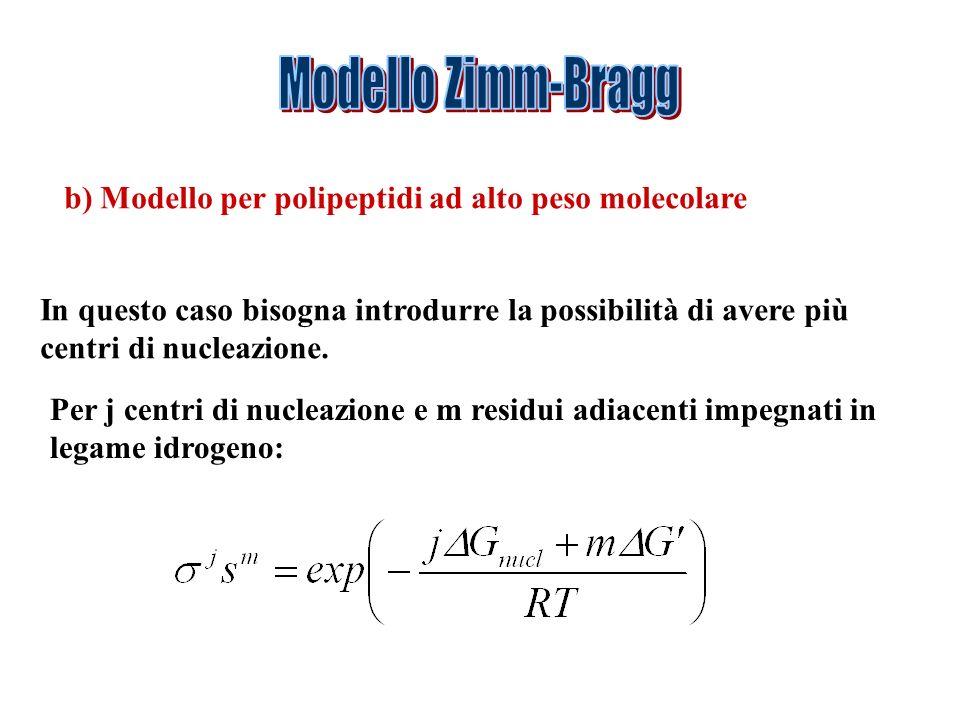 b) Modello per polipeptidi ad alto peso molecolare In questo caso bisogna introdurre la possibilità di avere più centri di nucleazione. Per j centri d