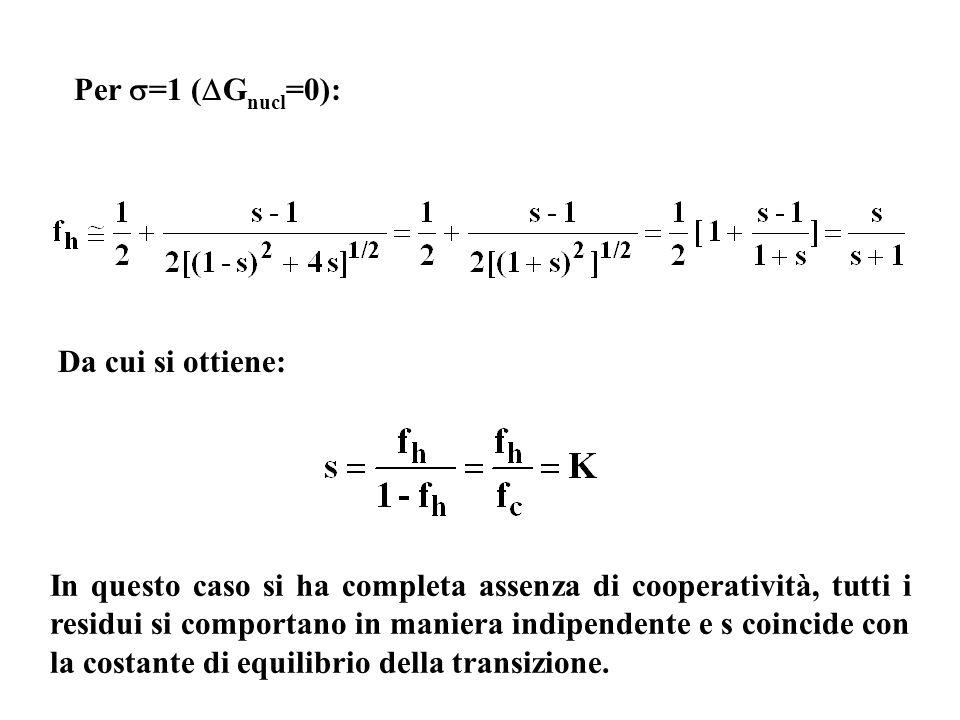 Per =1 ( G nucl =0): In questo caso si ha completa assenza di cooperatività, tutti i residui si comportano in maniera indipendente e s coincide con la