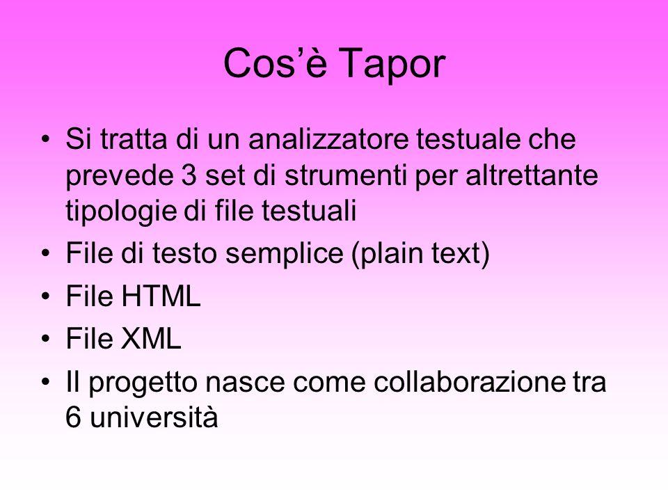 Cosè Tapor Si tratta di un analizzatore testuale che prevede 3 set di strumenti per altrettante tipologie di file testuali File di testo semplice (pla