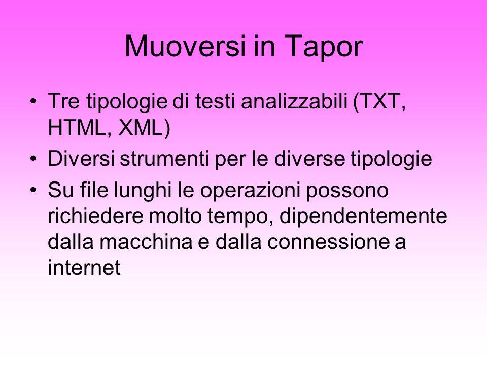 Muoversi in Tapor Tre tipologie di testi analizzabili (TXT, HTML, XML) Diversi strumenti per le diverse tipologie Su file lunghi le operazioni possono