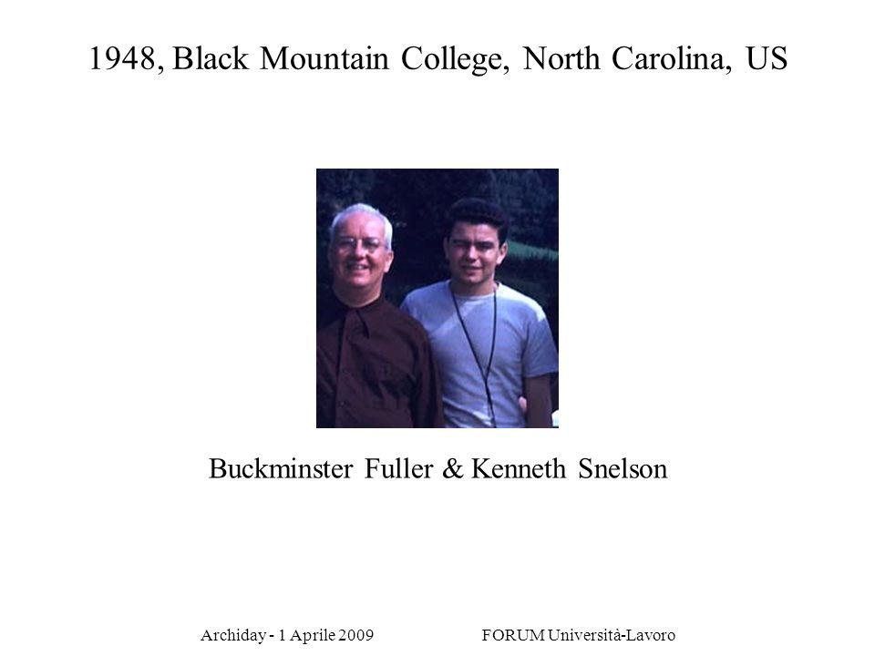 Archiday - 1 Aprile 2009 FORUM Università-Lavoro Buckminster Fuller & Kenneth Snelson 1948, Black Mountain College, North Carolina, US