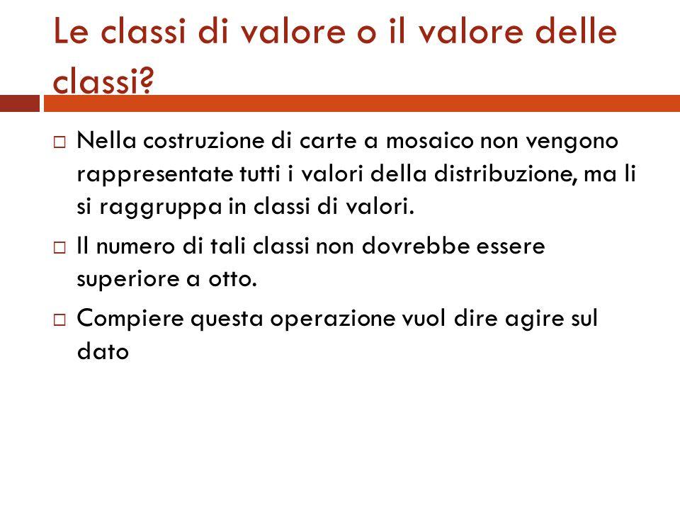 Le classi di valore o il valore delle classi? Nella costruzione di carte a mosaico non vengono rappresentate tutti i valori della distribuzione, ma li