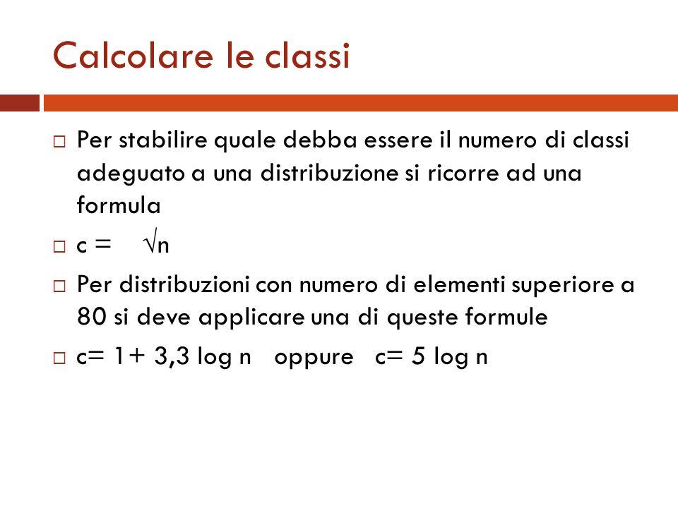 Calcolare le classi Per stabilire quale debba essere il numero di classi adeguato a una distribuzione si ricorre ad una formula c = n Per distribuzion