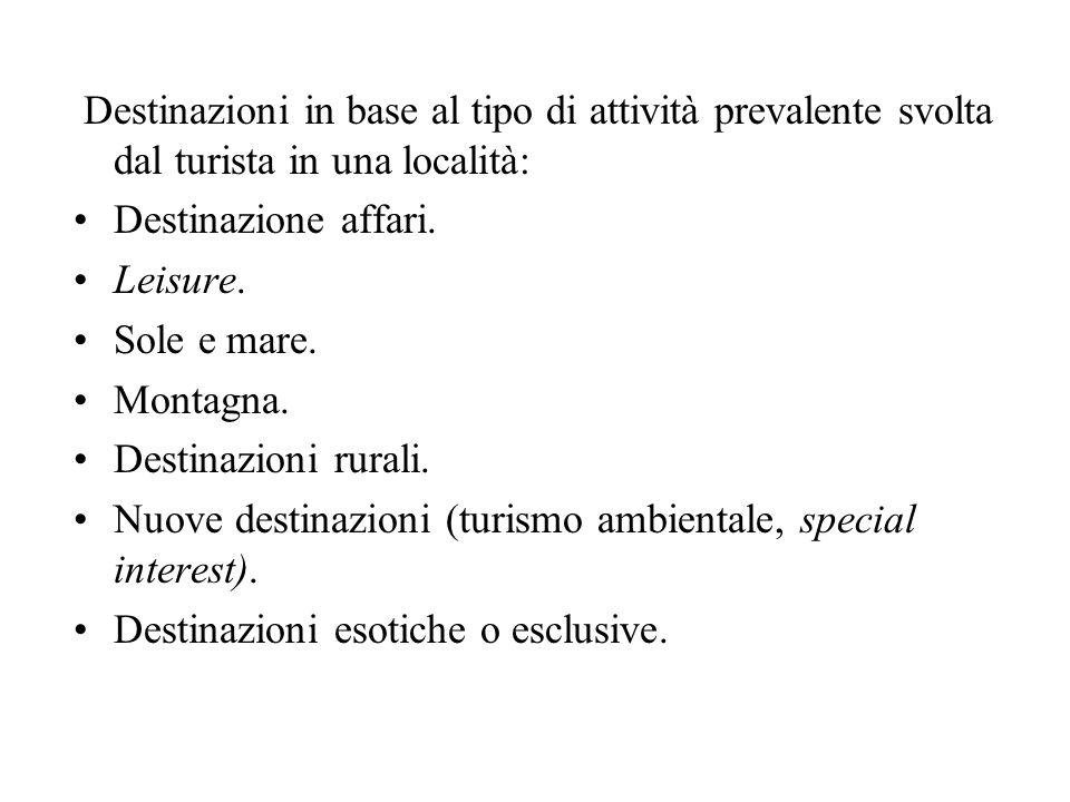Destinazioni in base al tipo di attività prevalente svolta dal turista in una località: Destinazione affari. Leisure. Sole e mare. Montagna. Destinazi