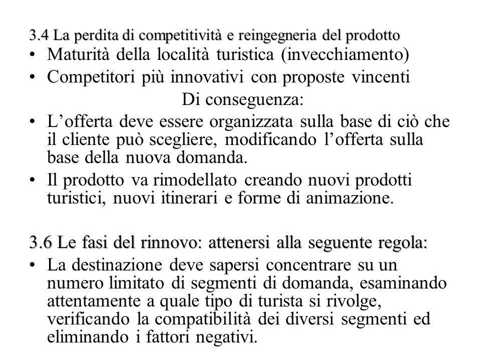 3.4 La perdita di competitività e reingegneria del prodotto Maturità della località turistica (invecchiamento) Competitori più innovativi con proposte