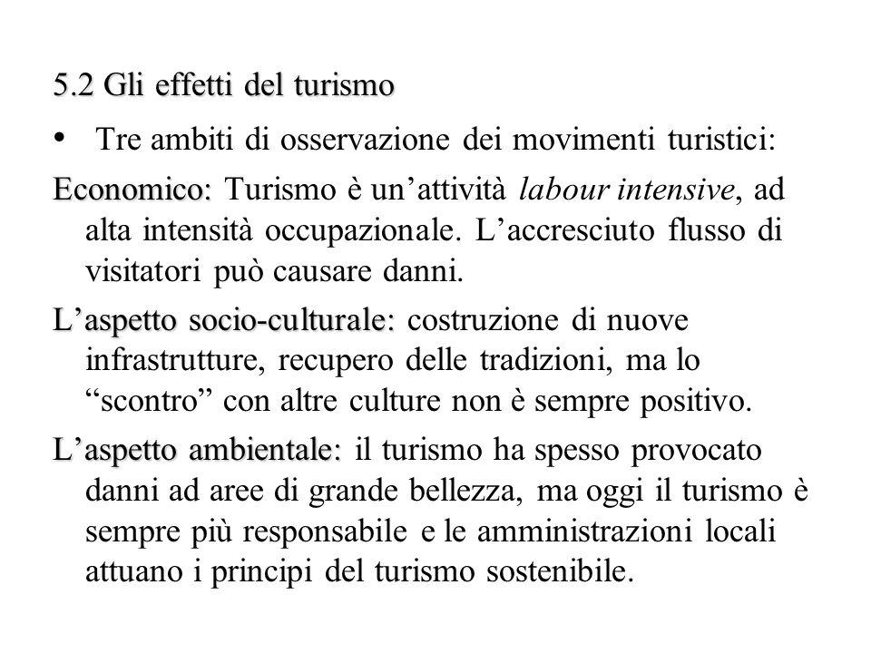 5.2 Gli effetti del turismo Tre ambiti di osservazione dei movimenti turistici: Economico: Economico: Turismo è unattività labour intensive, ad alta i