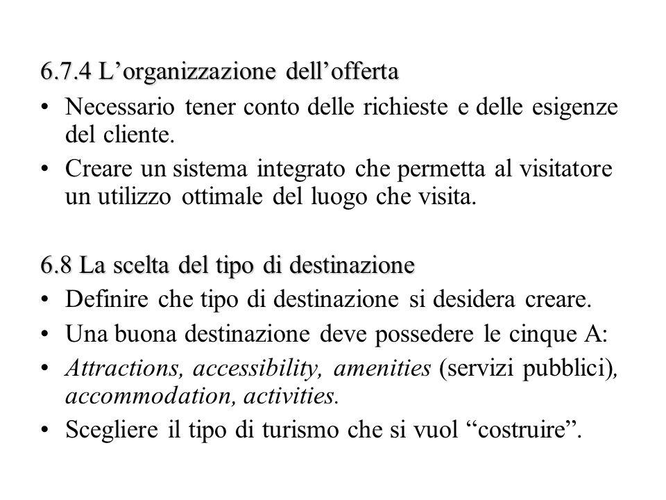 6.7.4 Lorganizzazione dellofferta Necessario tener conto delle richieste e delle esigenze del cliente. Creare un sistema integrato che permetta al vis