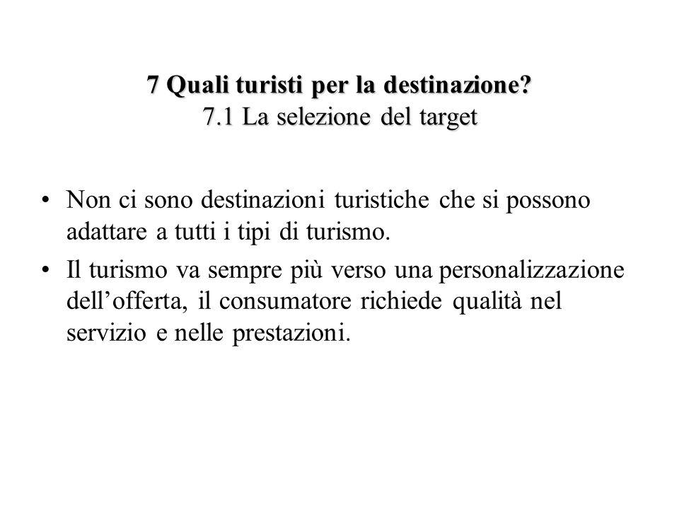 7 Quali turisti per la destinazione? 7.1 La selezione del target Non ci sono destinazioni turistiche che si possono adattare a tutti i tipi di turismo