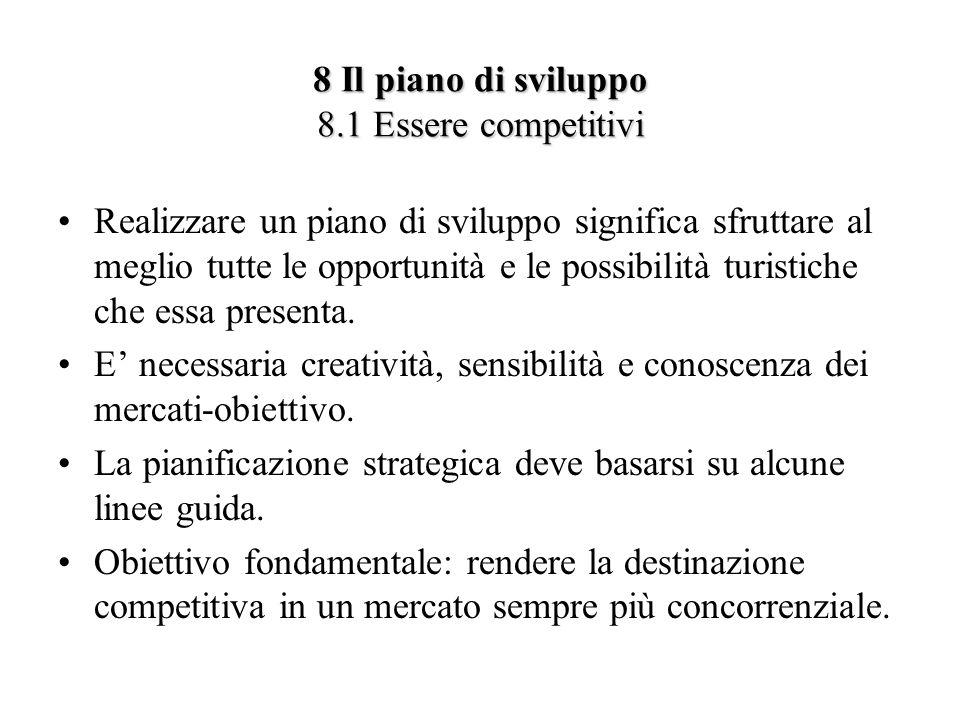 8 Il piano di sviluppo 8.1 Essere competitivi Realizzare un piano di sviluppo significa sfruttare al meglio tutte le opportunità e le possibilità turi