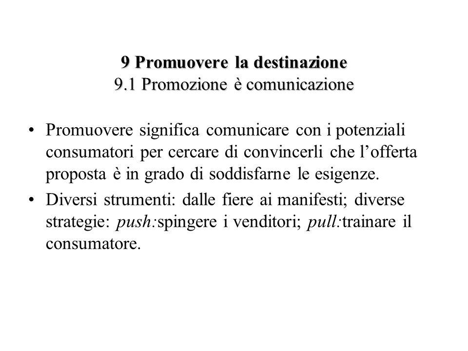 9 Promuovere la destinazione 9.1 Promozione è comunicazione Promuovere significa comunicare con i potenziali consumatori per cercare di convincerli ch