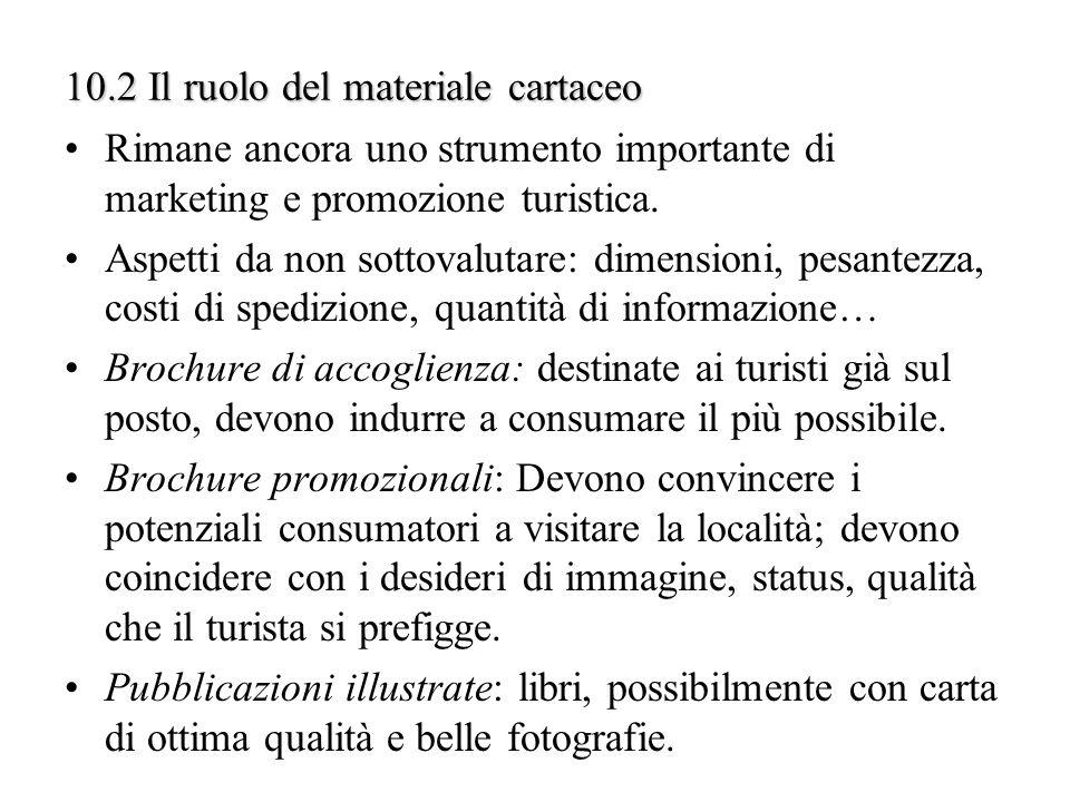 10.2 Il ruolo del materiale cartaceo Rimane ancora uno strumento importante di marketing e promozione turistica. Aspetti da non sottovalutare: dimensi