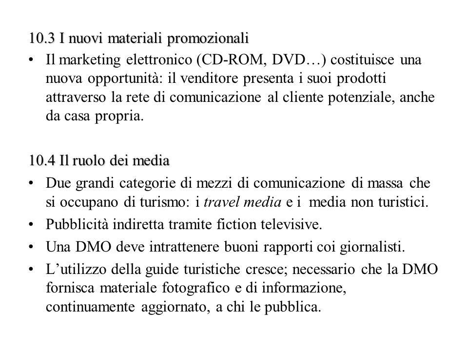 10.3 I nuovi materiali promozionali Il marketing elettronico (CD-ROM, DVD…) costituisce una nuova opportunità: il venditore presenta i suoi prodotti a