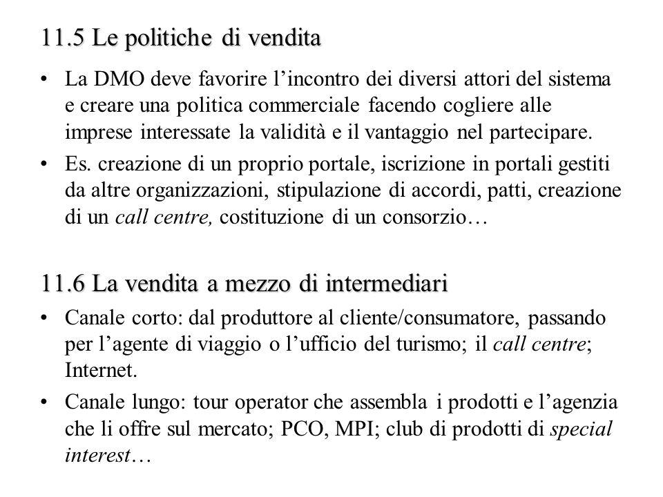 11.5 Le politiche di vendita La DMO deve favorire lincontro dei diversi attori del sistema e creare una politica commerciale facendo cogliere alle imp