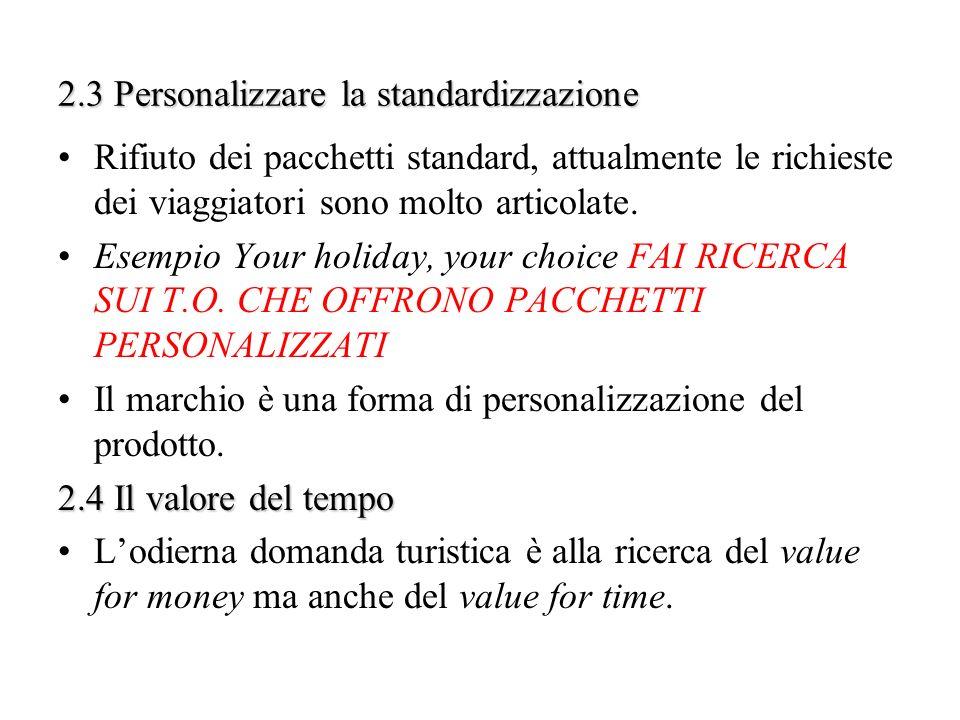 2.3 Personalizzare la standardizzazione Rifiuto dei pacchetti standard, attualmente le richieste dei viaggiatori sono molto articolate. Esempio Your h