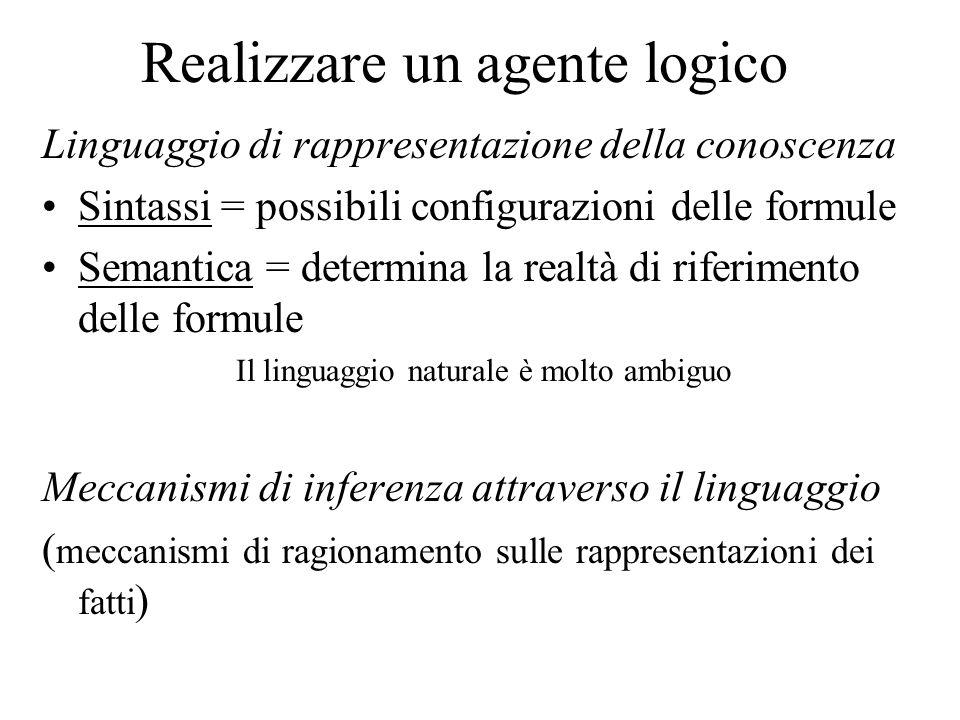 Realizzare un agente logico Linguaggio di rappresentazione della conoscenza Sintassi = possibili configurazioni delle formule Semantica = determina la