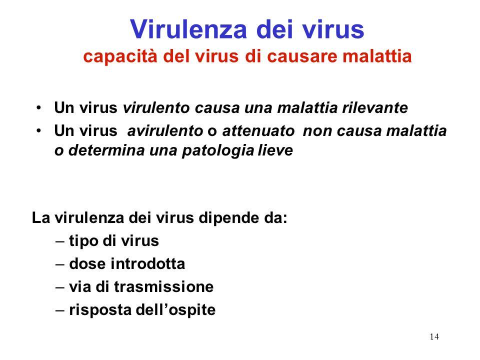 14 Virulenza dei virus capacità del virus di causare malattia Un virus virulento causa una malattia rilevante Un virus avirulento o attenuato non caus