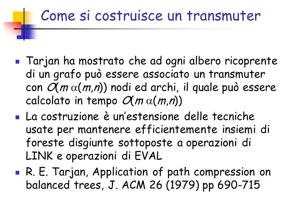 Come si costruisce un transmuter Tarjan ha mostrato che ad ogni albero ricoprente di un grafo può essere associato un transmuter con O(m (m,n)) nodi ed archi, il quale può essere calcolato in tempo O(m (m,n)) La costruzione è unestensione delle tecniche usate per mantenere efficientemente insiemi di foreste disgiunte sottoposte a operazioni di LINK e operazioni di EVAL R.