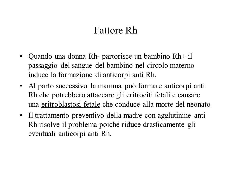 Fattore Rh Quando una donna Rh- partorisce un bambino Rh+ il passaggio del sangue del bambino nel circolo materno induce la formazione di anticorpi an