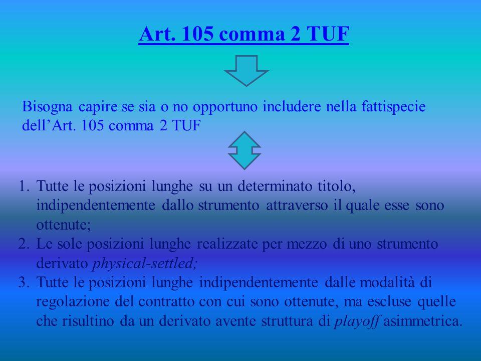 Art.105 comma 2 TUF Bisogna capire se sia o no opportuno includere nella fattispecie dellArt.