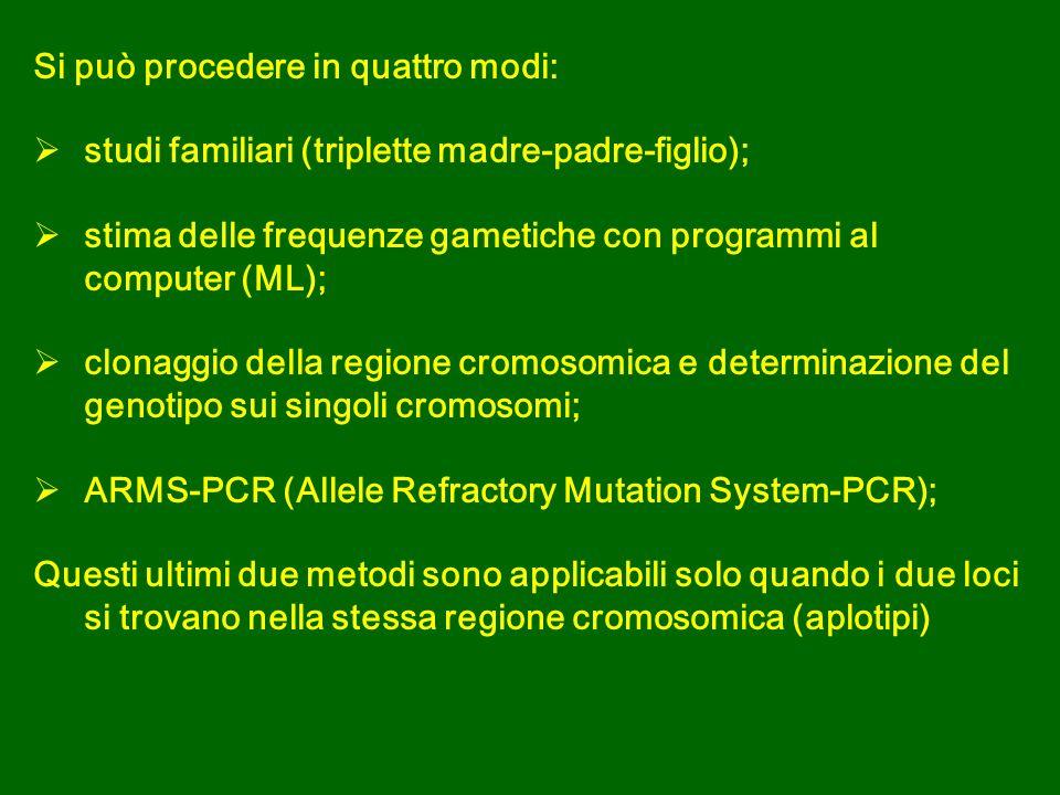 Si può procedere in quattro modi: studi familiari (triplette madre-padre-figlio); stima delle frequenze gametiche con programmi al computer (ML); clonaggio della regione cromosomica e determinazione del genotipo sui singoli cromosomi; ARMS-PCR (Allele Refractory Mutation System-PCR); Questi ultimi due metodi sono applicabili solo quando i due loci si trovano nella stessa regione cromosomica (aplotipi)