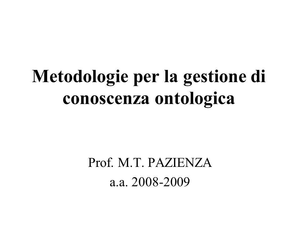 Costruire ontologie Le ontologie possono essere rappresentate con formalismi di diversa complessità ed espressività: cataloghi, glossari, tassonomie, thesauri, schemi relazionali, teorie assiomatiche,...
