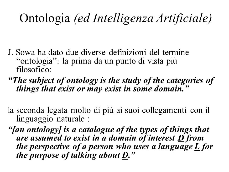 Ontologia (ed Intelligenza Artificiale) J.