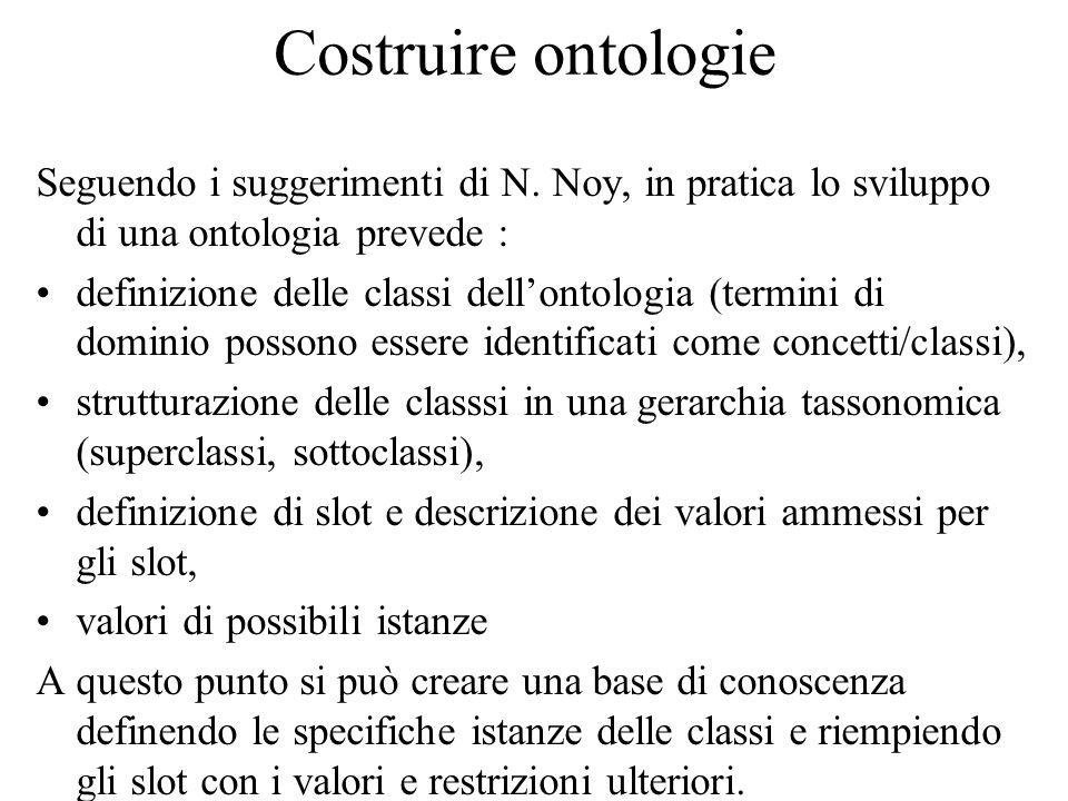 Costruire ontologie Seguendo i suggerimenti di N.
