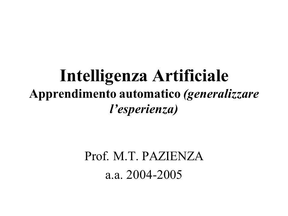 Intelligenza Artificiale Apprendimento automatico (generalizzare lesperienza) Prof. M.T. PAZIENZA a.a. 2004-2005