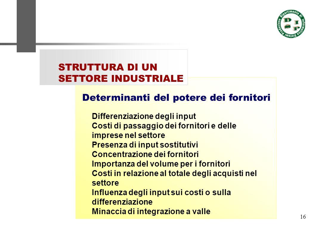 16 STRUTTURA DI UN SETTORE INDUSTRIALE Differenziazione degli input Costi di passaggio dei fornitori e delle imprese nel settore Presenza di input sos