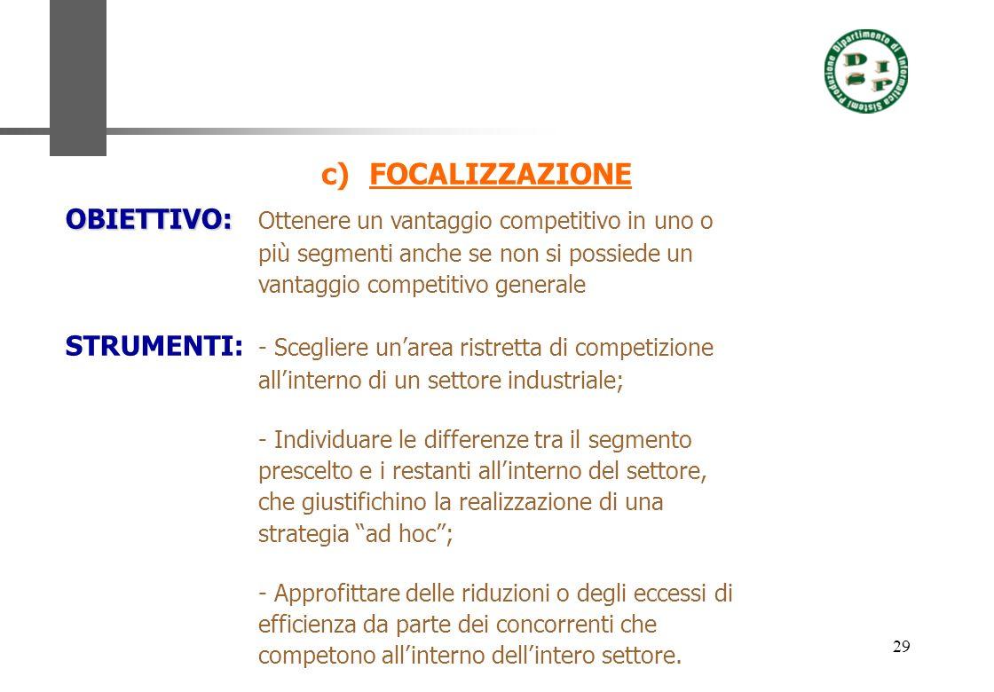29 c)FOCALIZZAZIONE OBIETTIVO: OBIETTIVO: Ottenere un vantaggio competitivo in uno o più segmenti anche se non si possiede un vantaggio competitivo ge