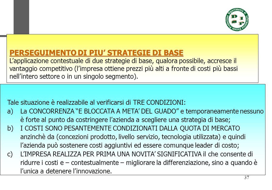 37 PERSEGUIMENTO DI PIU STRATEGIE DI BASE Lapplicazione contestuale di due strategie di base, qualora possibile, accresce il vantaggio competitivo (li