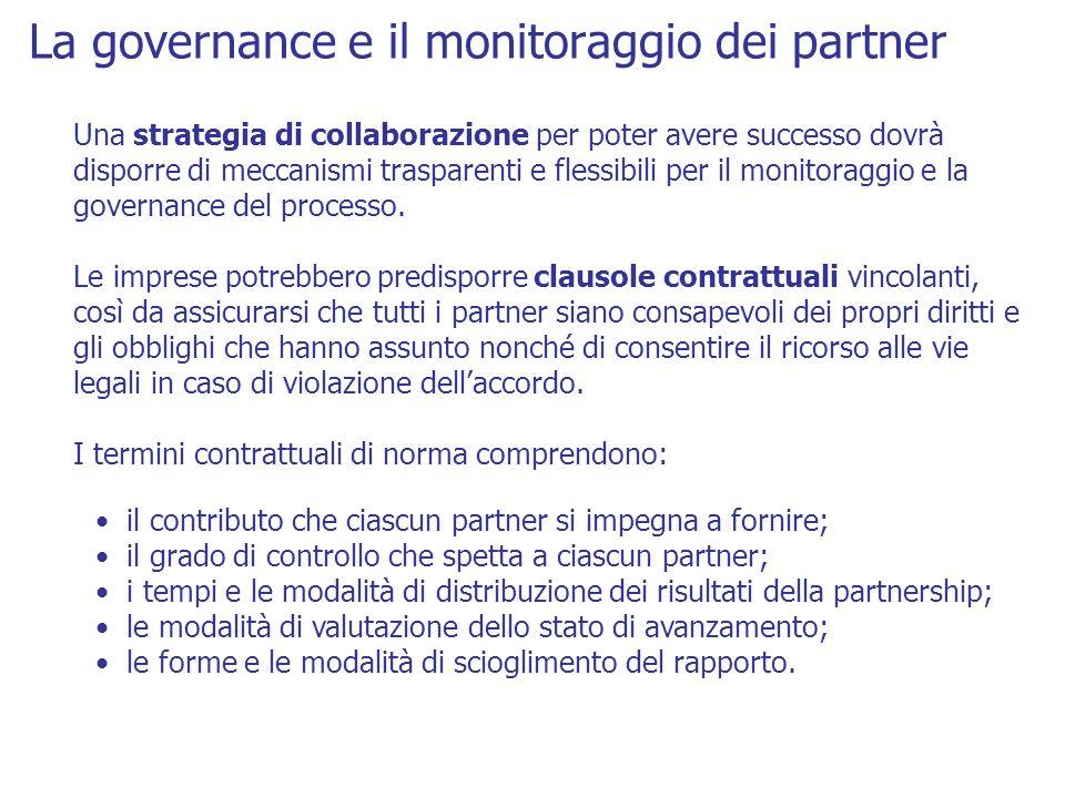 La governance e il monitoraggio dei partner Una strategia di collaborazione per poter avere successo dovrà disporre di meccanismi trasparenti e flessi